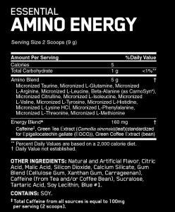 amino energy ingredients